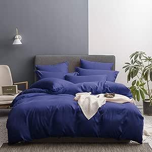 Lausonhouse 床上用品羽绒被套 3 件套 - 超柔软双磨毛超细纤维酒店系列 - 盖被带纽扣封口和 2 个枕套 *蓝 Full/Queen LADSMP16705NVQ