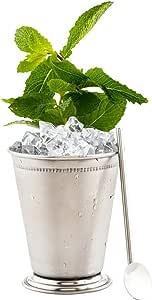 5 英寸可重复使用不锈钢饮料勺吸管:完美适用于*吧和饭店 - 镀金汁勺鸡尾*吸管 - 圆形设计适合儿童 - 2-CT - 餐厅软件 亮灰色 5英寸 RWT0287S
