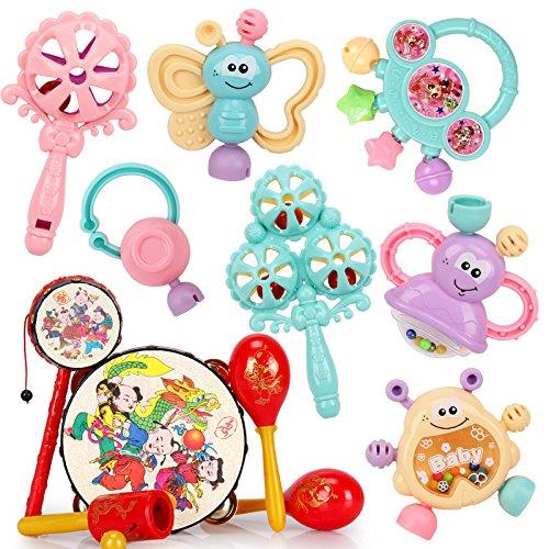 婴儿玩具0-1岁幼儿牙胶摇铃 3-6-12个月新生儿宝宝手摇铃牙胶玩具(颜色随机发货)id=526091193389 (摇铃7件套+手铃鼓5件套)