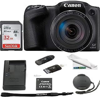 Canon PowerShot SX430 是 20 MP 数码相机(黑色) - 32GB Expo 基本配件包