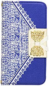 JUJEO Bowknot Magnetic Lace Pattern for iPhone 6 4.7-Inch Leather Wallet Cover - Non-Retail Packaging - Blue