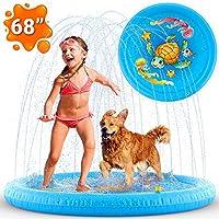 禅恩实验室充气溅洒水垫,潜水池,儿童泳池,儿童泳池和洒水器 | 幼儿户外玩具 | 后院戏水游戏垫