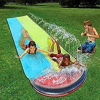 儿童成人滑水滑梯,后院巨型滑梯,赛车车道和戏水池,户外喷水滑梯,带碰撞垫水玩具(55,黄色)
