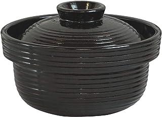 长谷制陶(Nagatani Seitou)土锅 黑色 1200毫升 长谷园 粥 NCK-50