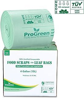 ProGreen * 可堆肥袋 4 加仑(15升),超厚 0.75 毫米,100 个,小号厨房垃圾袋,食品废料袋,可生物降解 ASTM D6400 BPI 和 TUV 奥地利认证。