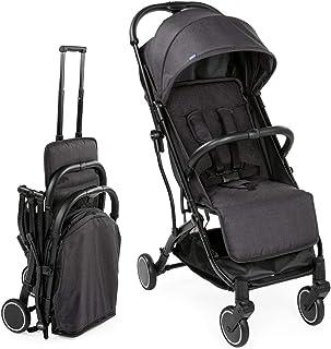 Chicco 智高 Trolley Me 婴儿车如行李箱手推车,出生至15公斤,单手锁定机制,包括运输把手和防雨罩,黑色 石