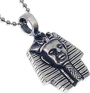 Ohdeal4U King TUT Tutankhamun 面具 Mummy 护身符 银锡吊坠项链 饰品 带银珠链