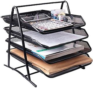GHKJOK 可堆叠文件托盘,4 层滑动抽屉盒文件架办公桌文具架整理器宽入口堆叠分类器,适用于办公室家庭 - 黑色