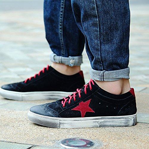 jiangtian 绛天 红色星星平板鞋男 英伦布洛克潮流真皮撞色做旧小脏鞋透气 青少年系带休闲鞋男鞋