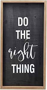 Parisloft Do The Right Thing 木框墙标志装饰,黑色 24.99 x 2.54 厘米 Do the Right Thing