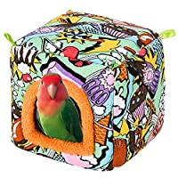 YJJKJ 宠物鸟屋冬季温暖鸟巢,鹦鹉依偎小屋,鹦鹉栖息小屋悬挂帐篷,适用于长尾鹦鹉、爱鸟、虎皮鹦鹉、回馈和僧侣鹦鹉 多种颜色 中