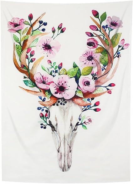 Yamuda 水彩花鹿装饰系列 野花花饰花雏菊花朵花朵和佛图案印花 卧室