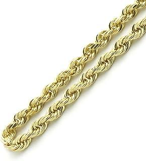 Pori Jewelers 14K 黄金 4MM 空心钻石切割绳链项链中性尺寸 50.8cm-66.04 cm