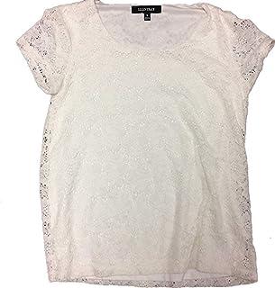 ELLEN Tracy 女式蕾丝细节 overlay 短袖衬衫上衣