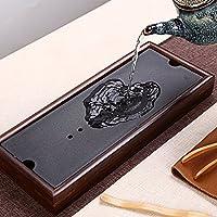 易信 茶盘陶瓷重竹日式干泡盘储水式茶台功夫茶具茶托茶海 (TF5865黑色)