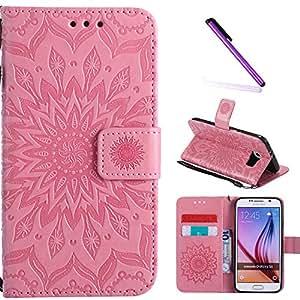 S6 手机壳,Galaxy S6 手机壳,LEECOCO 3D 闪耀飘逸沙钱包手机壳名片夹PU皮革支架钱包保护套适用于三星 Galaxy S6 [z1] Mandala Pink