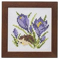 LECIEN 刺绣套件 可爱动物和季节的花 带框架十字绣套件 刺猬和十字架