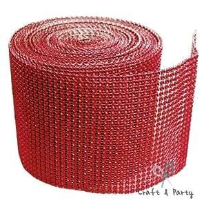 钻石网格包裹卷边水钻水晶丝带 4.5 x 10 码 红色 EWRAP-001