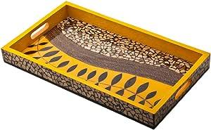 KOUBOO 椰子壳马赛克装饰餐盘,黄色