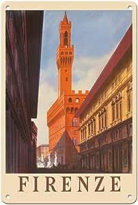 太平洋岛艺术 - 佛罗伦萨(菲尔恩兹)意大利 - 弗罗伦萨·维西奥古宫 - 复古旅行海报 c.1938 - 精美艺术印刷品 多种颜色 8 x 12 in Tin Sign MTSA9304