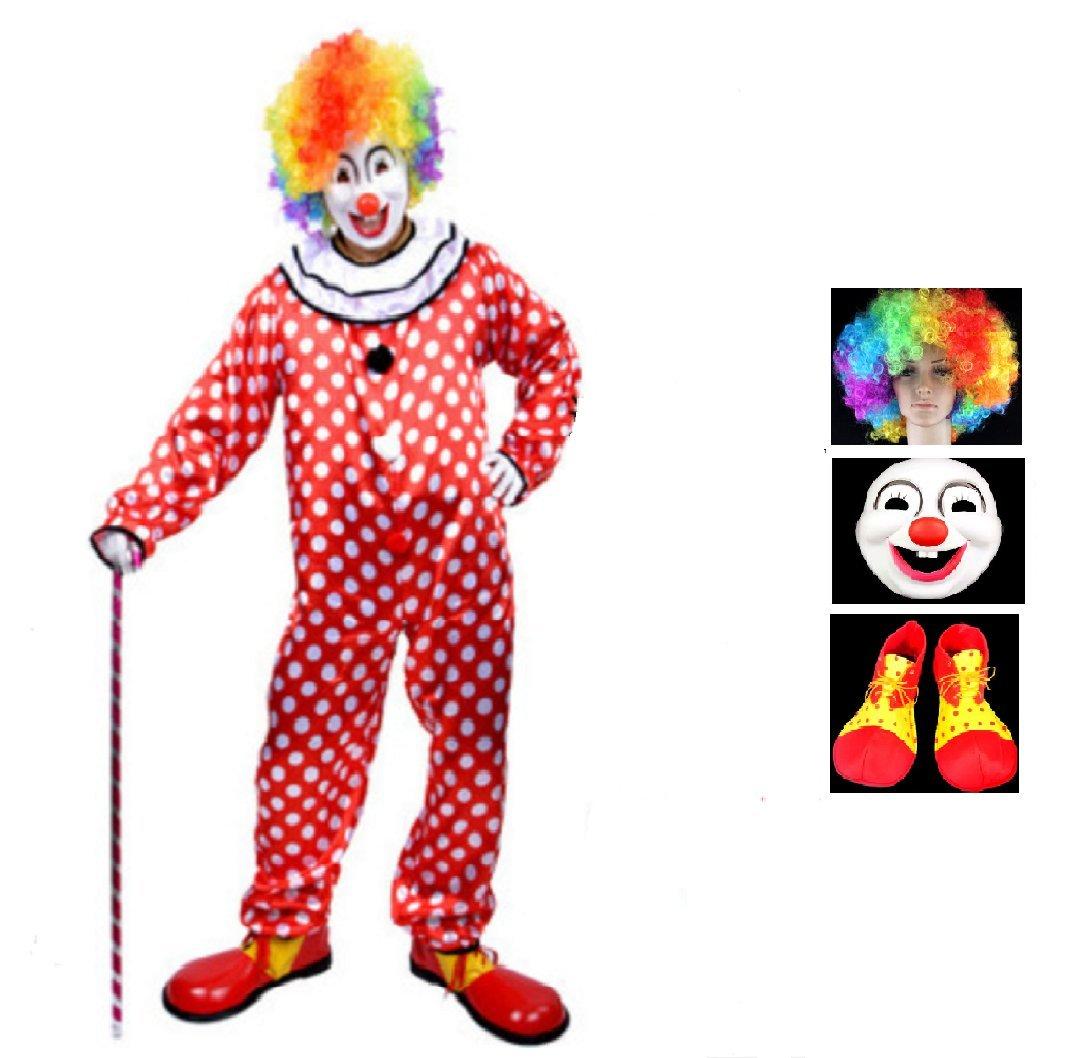 MATISSA 小丑服装成人男女小丑配饰和套装 Clown Style 14 (160 - 172 CM) and 3 Pcs Accessories Set