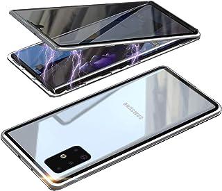 HONTECH Galaxy A71 5G 防间谍磁性手机壳,超薄隐私磁吸附前后钢化玻璃内置屏幕保护膜金属保险杠翻盖保护套 6.7 英寸 银色