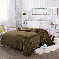 J.H.Longess 纯色菠萝格盖毯加厚法莱绒毛毯珊瑚绒四季毯子沙发盖毯单双人午睡毯 (Tk.菠萝格毯-墨绿色, 120 * 200cm/0.72kg)
