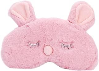 QCHOMEE 卡通鹿眼面具 女式 女孩 可爱 红鼻子 圣诞鹿 * *眼罩 眼罩 闪亮兔眼眼罩 粉色兔子 均码 Cartoon Deer Eye Mask