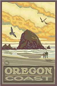 Northwest Art Mall Haystack Rock Oregon Coast 带框艺术印刷品,Paul A. Lanquist。 24 x 36 inch PAL-0012 D