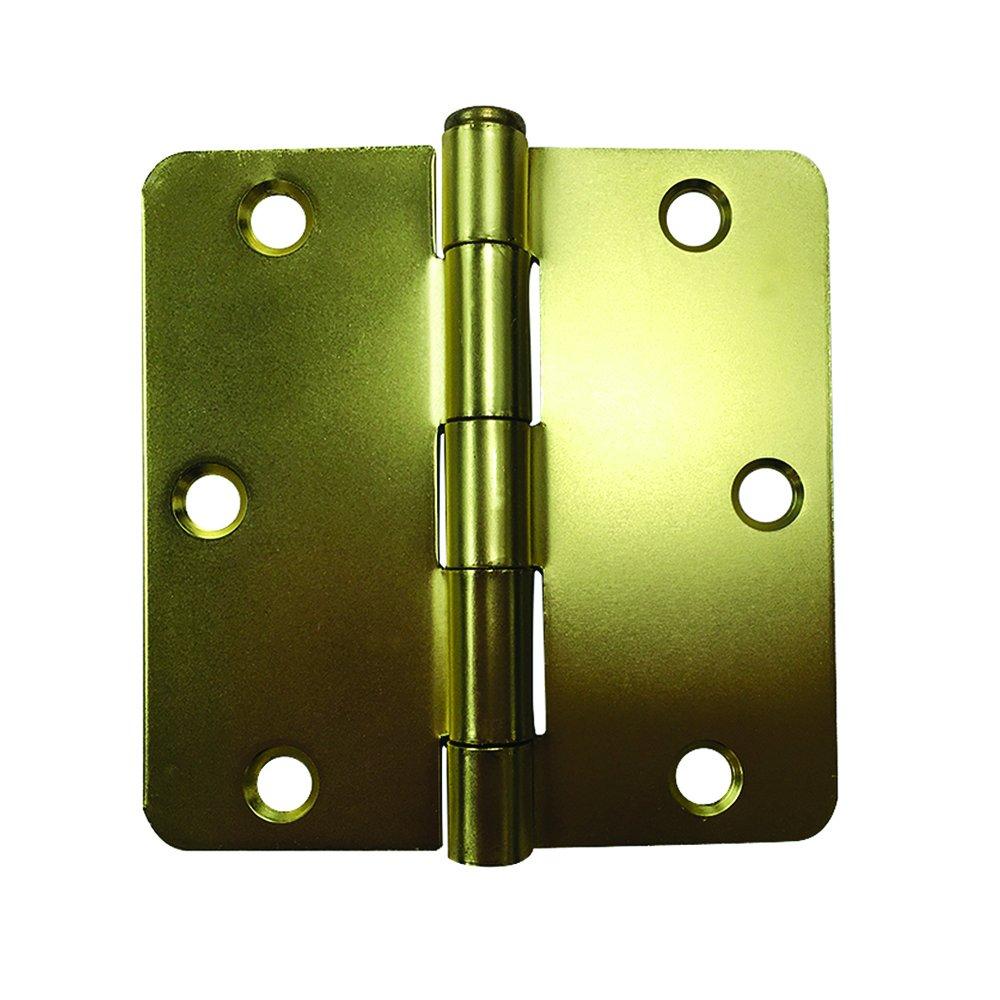 Prime-Line MP10029-1 住宅门铰链,8.89 厘米 x 1/4 英寸。 Radius 角,钢,绸缎黄铜,1 个装