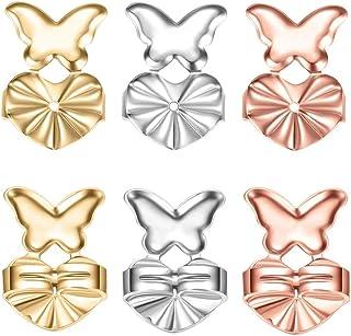 出色的耳坠升降器和耳坠,3 对低*性可调节耳坠升降器 - 易于用于耳坠(镀金、银和玫瑰金 - 蝴蝶风格)
