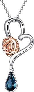 AOBOCO 玫瑰项链女友妻子女士纯银玫瑰花心形吊坠项链施华洛世奇水晶周年纪念情人节玫瑰花珠宝礼品