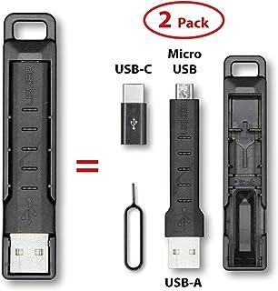 杠杆齿轮电缆套件 - 2 合 1 钥匙扣 Micro USB 充电和数据线兼容三星和其他 USB-C 或 Micro USB 设备包括 USB-C 适配器和 SIM 卡工具 2组