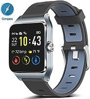 MorePro GPS 智能手表带 17 个运动模式骑行跑步手表 IP68 游泳防水健身追踪器,心率监测器*追踪器女士计步器兼容 iPhone 和 AndroidMorePro -  灰色