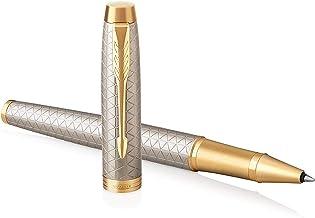 PARKER 派克 IM 系列圓珠筆 ,中等書寫筆尖 藍色替換筆芯 Rollerball Geschenkbox Premium Warm Silver Golden trim