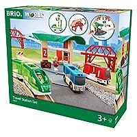 BRIO 火车系列 WORLD现代旅行火车站套装 男孩木质玩具(共25个部件包含人偶,行李,小车,车站,停车塑胶片,桥梁,桥墩,木轨)