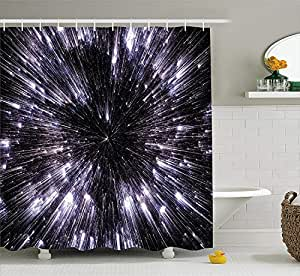Galaxy Shower Curtain Set by Ambesonne, Speed of Life Space Travel Themed Fantastic Galaxy Wars Universe Science Fiction Futuristic, Fabric Bathroom Decor with Hooks, 84 Inch Extra Long, Violet Black