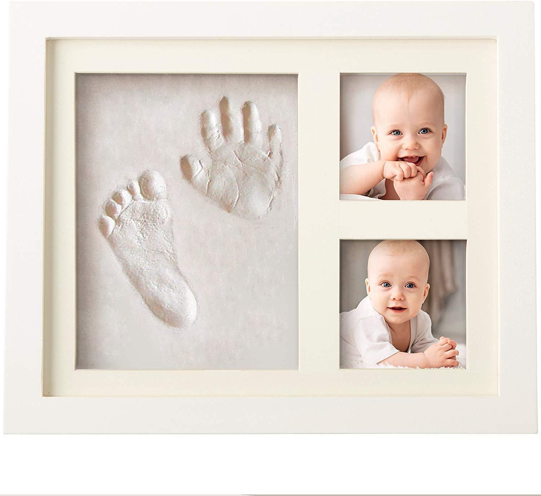 男性と女性の新生児のためのBubziのCo赤ちゃんの手形とフットプリントキットフォトフレーム、登録のためのベビーシャワーのフォトアルバム、パーソナライズされた赤ちゃんへの贈り物、お土産ボックスが飾ら保育室の壁の装飾