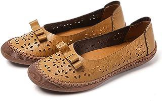 Trsorini 女式休闲乐福鞋时尚舒适皮革圆头镂空一脚蹬平底鞋适合驾驶办公室工作连衣裙