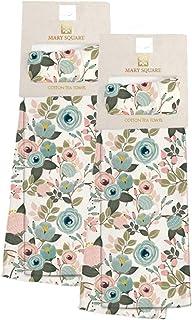 Mary 方形两件套厨房茶巾桃色花卉设计家居套装