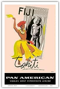 """斐济和塔希蒂 - 泛美世界航空航空道 - 复古航空海报,A. Amspoker 创作,1950 年代 - 艺术大师版画 12"""" x 18"""" PRTB4213"""