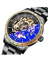 BesTn 腕表 男式自动缠绕 合金镀铬 夜光指针 骨架机械手表