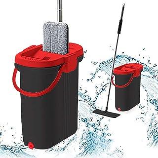 Simpli-Magic 79295 专业家用清洁平板拖把和水桶套装带铝手柄/可洗超细纤维垫,黑色/红色