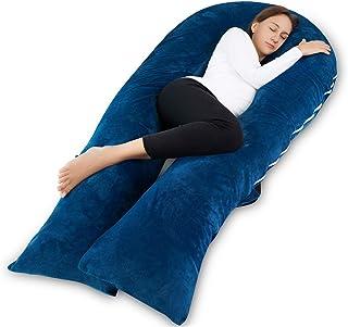 Meiz U 形孕妇孕妇枕带拉链可拆卸枕套 蓝色 65 Inch