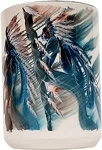 印画加 425 g 陶瓷咖啡马克杯 - Cherokee Nation 印*安艺术杯 艺术家比尔和拉比兔 - 生动、防褪色染升华和礼品包装 Light And Shadow 15 oz. BTRM-117