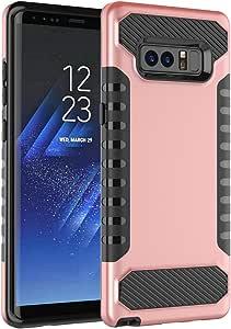 Galaxy Note 8 手机壳,TOPBIN 极简主义纹理减震双层混合背壳带 TPU 耐冲击缓冲设计保护三星 Galaxy Note 8 Rose Golden+Black