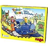 HABA 303736 Tschu-chu小型鐵路|棋盤游戲,帶大號拼圖游戲板,骰子,鐵軌,24個乘客紙板,3個道岔和4個車站 | 適合3歲以上的玩具