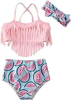 幼童女童向日葵泳衣比基尼流苏上衣 + 短裤 + 头带泳衣