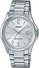 Casio MTP1404D-7A 男式礼服不锈钢银色表盘 3 指针模拟日期手表