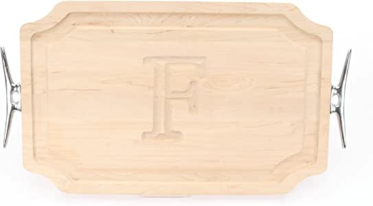 """CHUBBCO 320-LCLT-F Carving Board with Scalloped Corners with Large Boat Cleat Handle in Cast Aluminum, 15-Inch by 24-Inch by 1.25-Inch, Monogrammed""""F"""", Maple"""